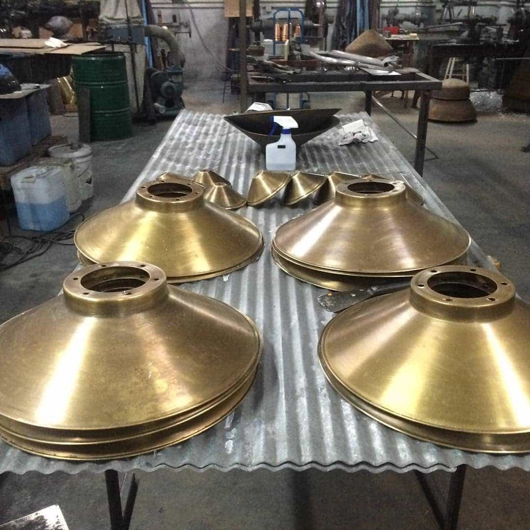 Brass lamp shades.